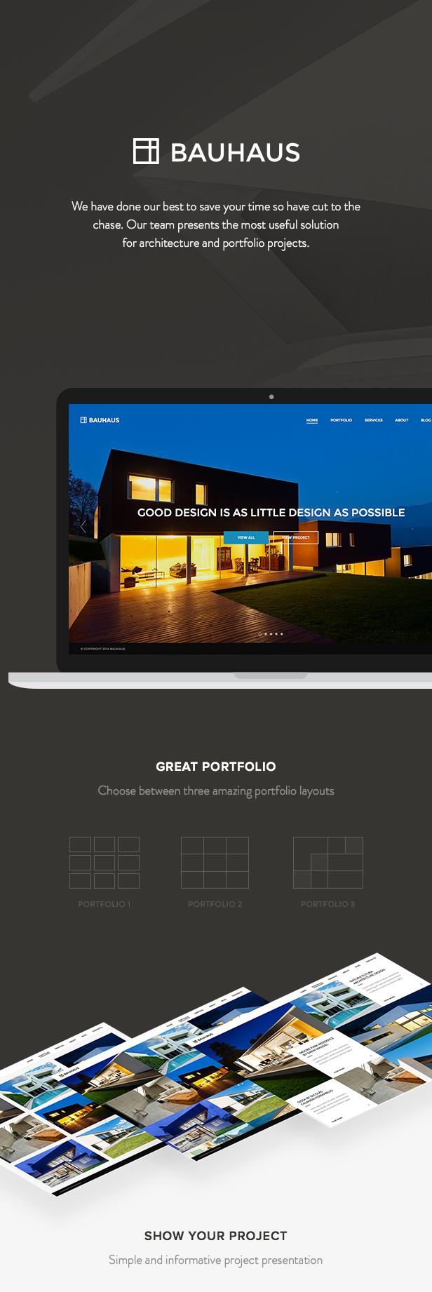 Bauhaus - Tema de WordPress Arquitectura y portafolio - 1